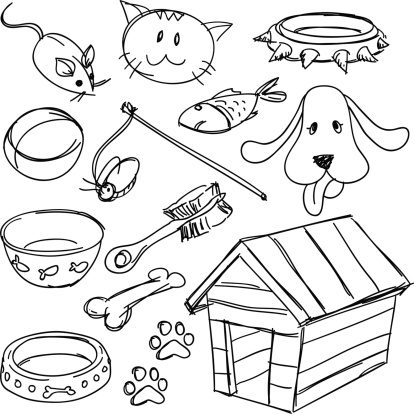 Pets' equipment set in black and white
