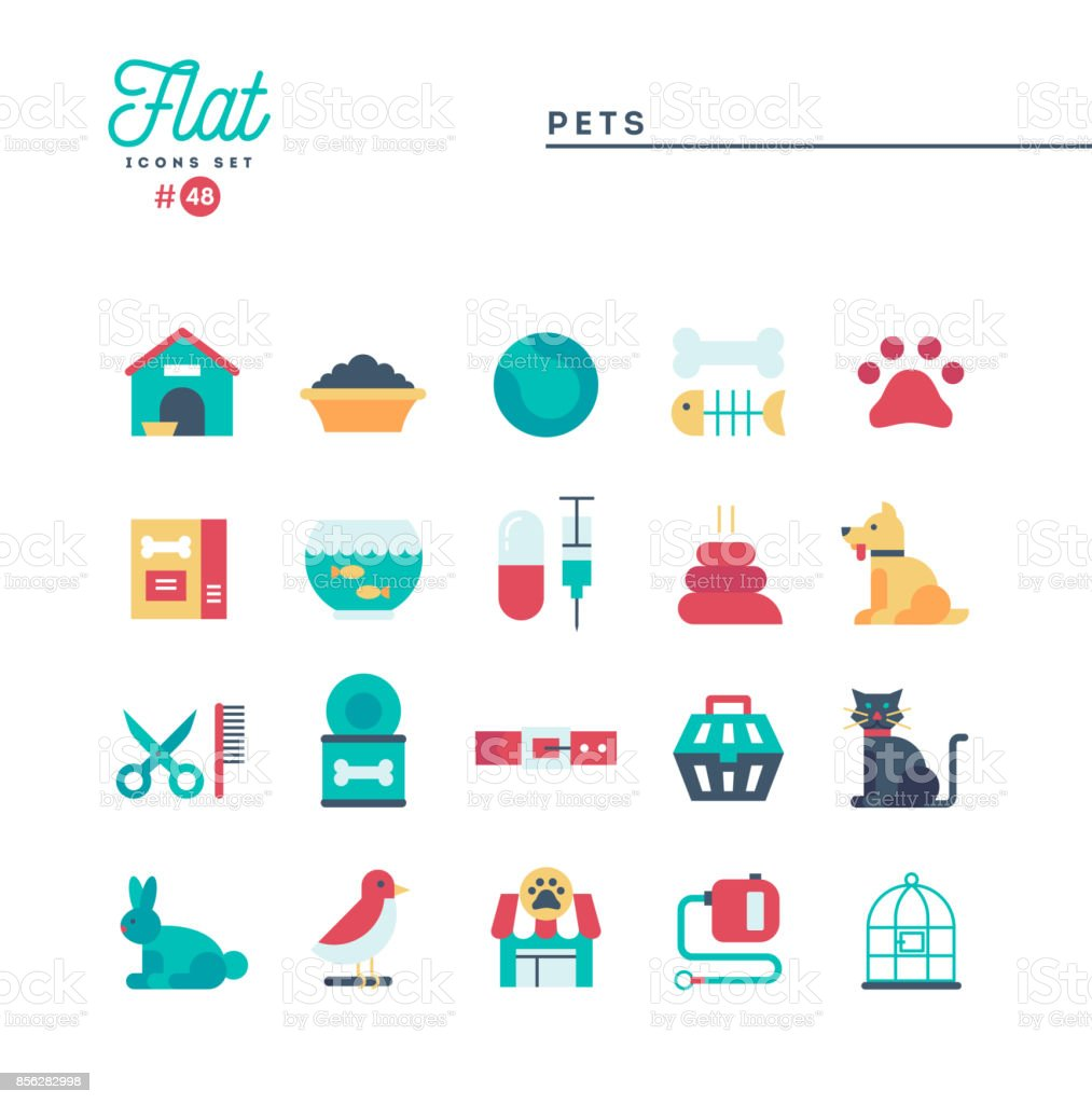Pets, flat icons set, vector illustration
