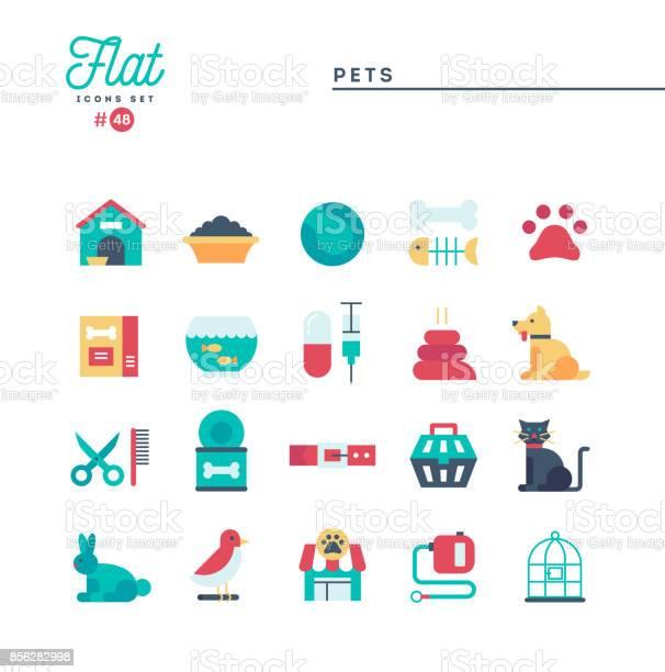 Pets flat icons set vector illustration vector id856282998?b=1&k=6&m=856282998&s=612x612&h=lnnpwzj4hw76ldnhksoe9s8ybgdlknwskdj9irrjlzi=