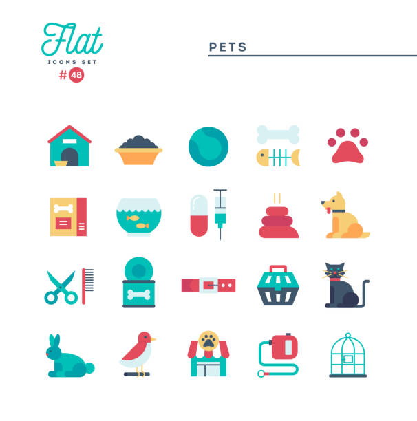 ilustrações de stock, clip art, desenhos animados e ícones de pets, flat icons set, vector illustration - lata comida gato