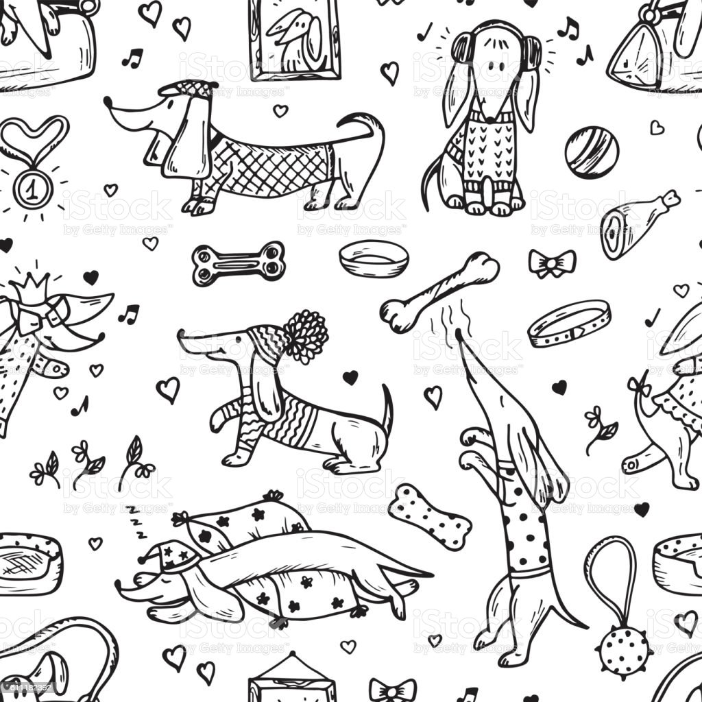 Pets Funny Dachshund Dogs Hand Drawn Dog Vector Seamless Pattern