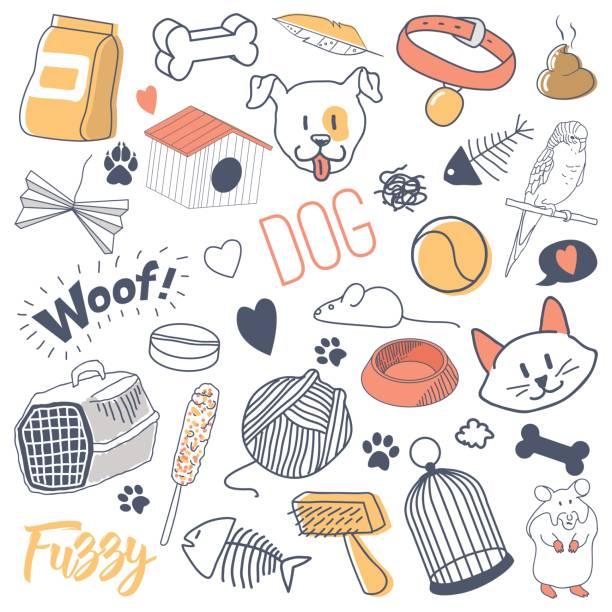 illustrations, cliparts, dessins animés et icônes de animaux de compagnie à main doodle dessiné avec des chats, des chiens et des perroquets - dessin cage a oiseaux