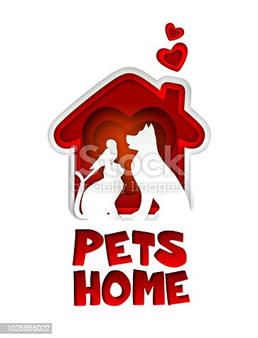 Pets home logo design template. Vector paper art illustration of red dog house with heart shape and dog, cat and parrot silhouettes in it.