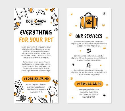 Pets hotel flyer for printing in Doodle style