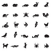 Black pets icon set