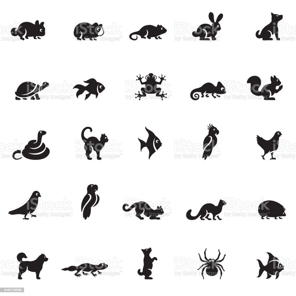 Conjunto de ícones de animais de estimação - ilustração de arte em vetor