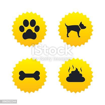 Haustieresymbole Hund Pfote Und Kot Der Beschilderung Stock Vektor Art und mehr Bilder von Abzeichen 596352244