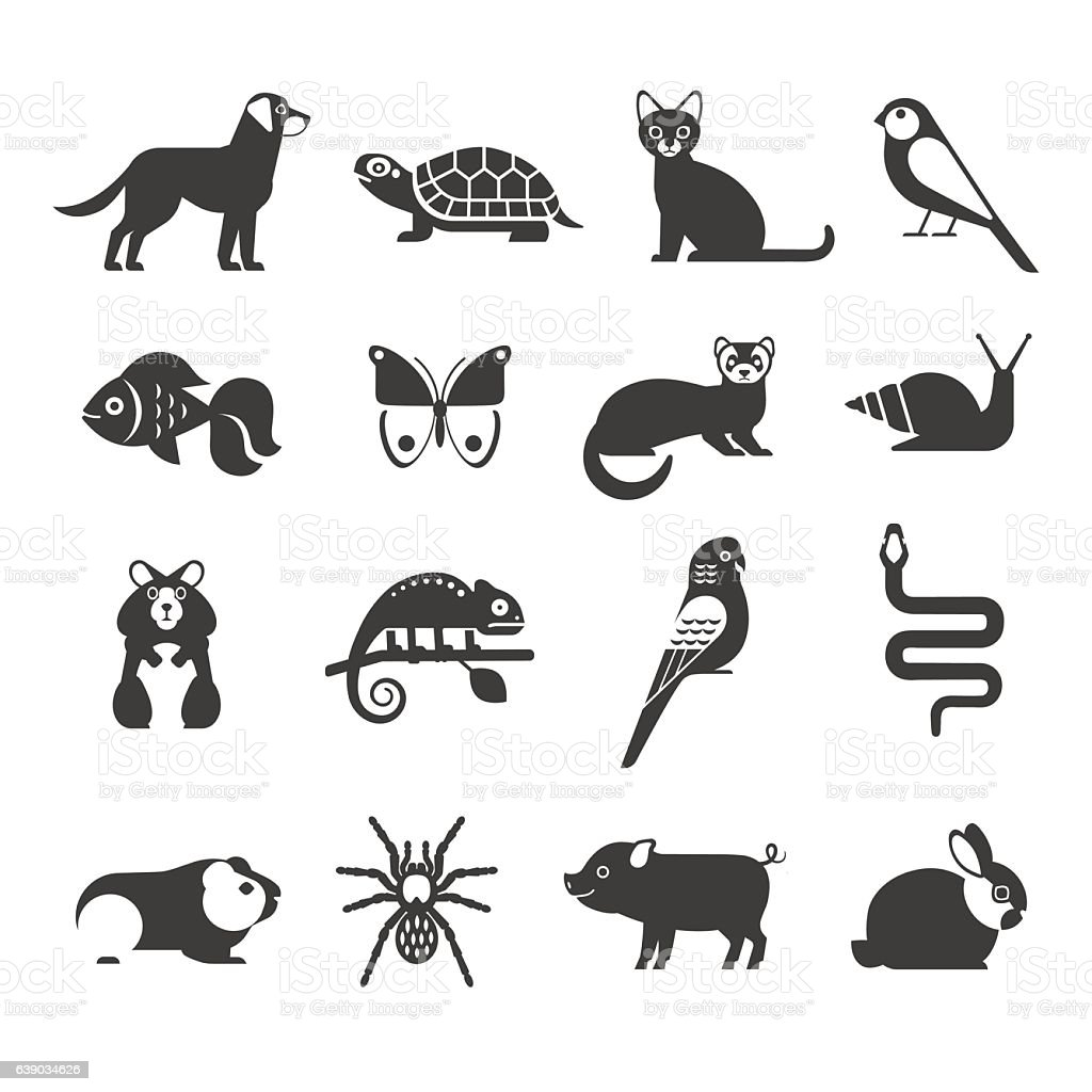 Pets icons set. vector art illustration