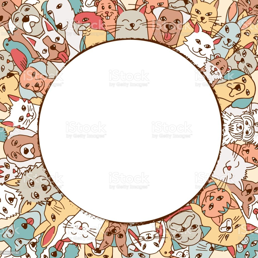 Pets in a circle around empty space royalty-free pets in a circle around empty space stock vector art & more images of animal