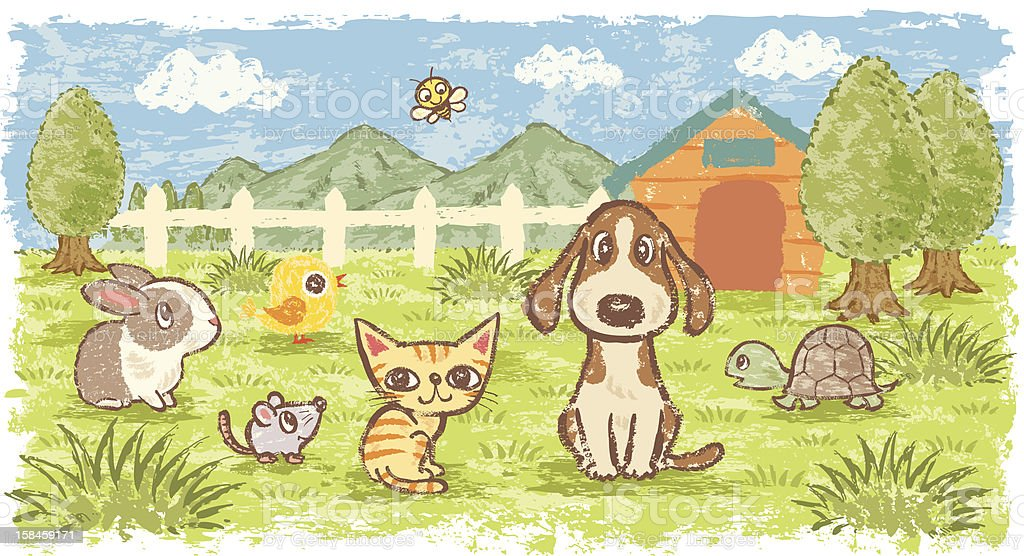 Pets in nature vector art illustration
