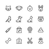16 Pets Outline Icons.