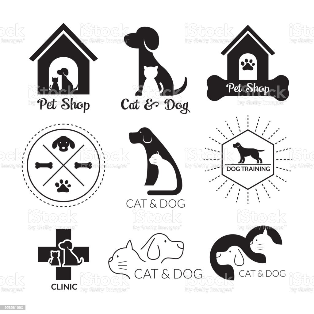 Pets Logo And Symbol Black And White Stock Illustration Download Image Now Istock
