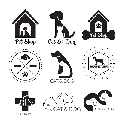 Pets Logo and Symbol Black and White