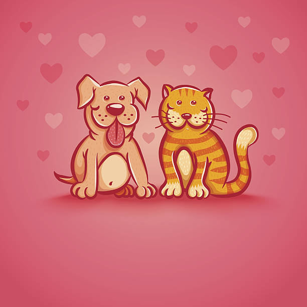 Pets on pink background Cute vector illustration of cat and dog for Valentine day. Pets on pink background with hearts. cat valentine stock illustrations