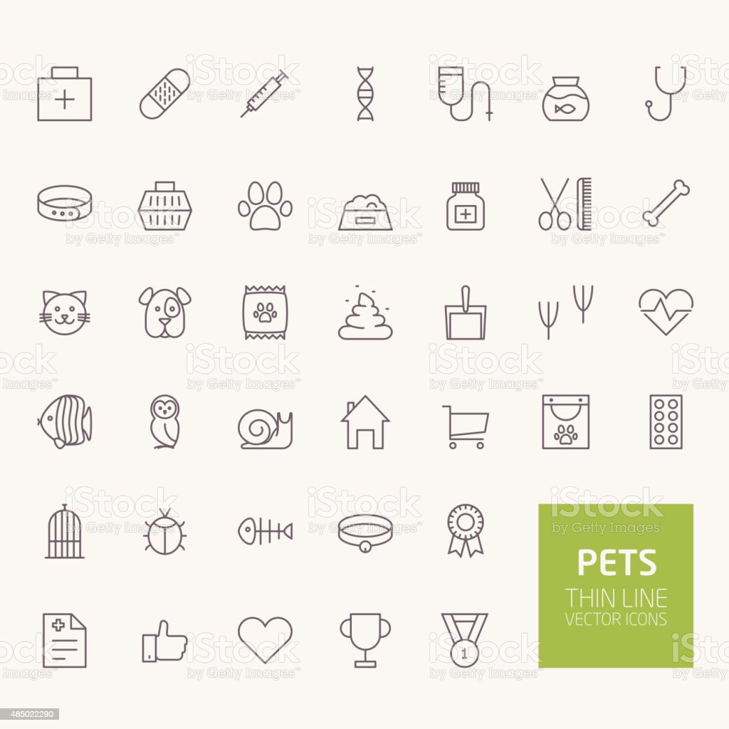 Pets Outline Icons for web and mobile apps vector art illustration
