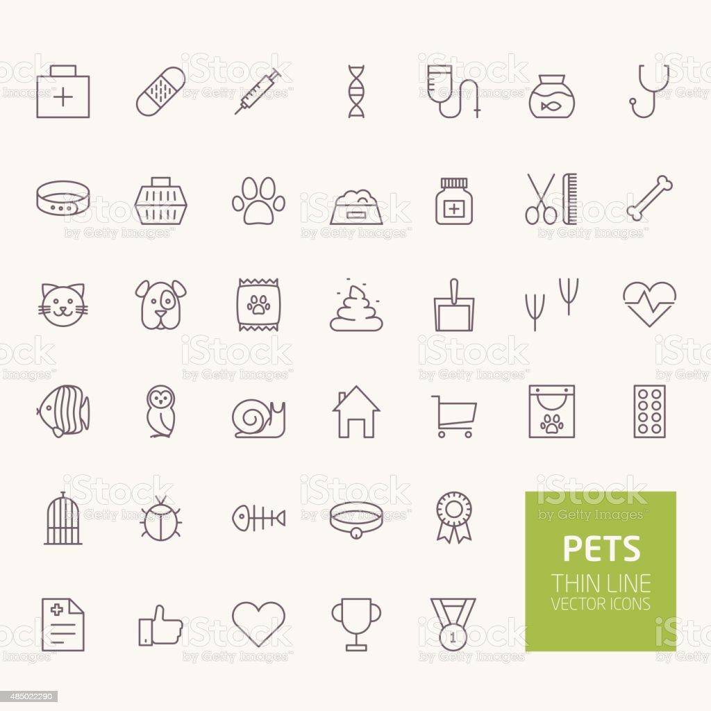 Contorno se permiten mascotas de iconos para web y aplicaciones móviles - ilustración de arte vectorial