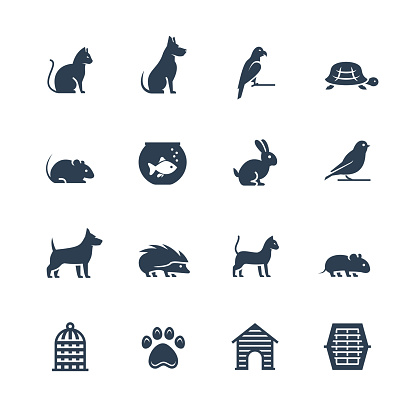 Pets related vector icon set in glyph style