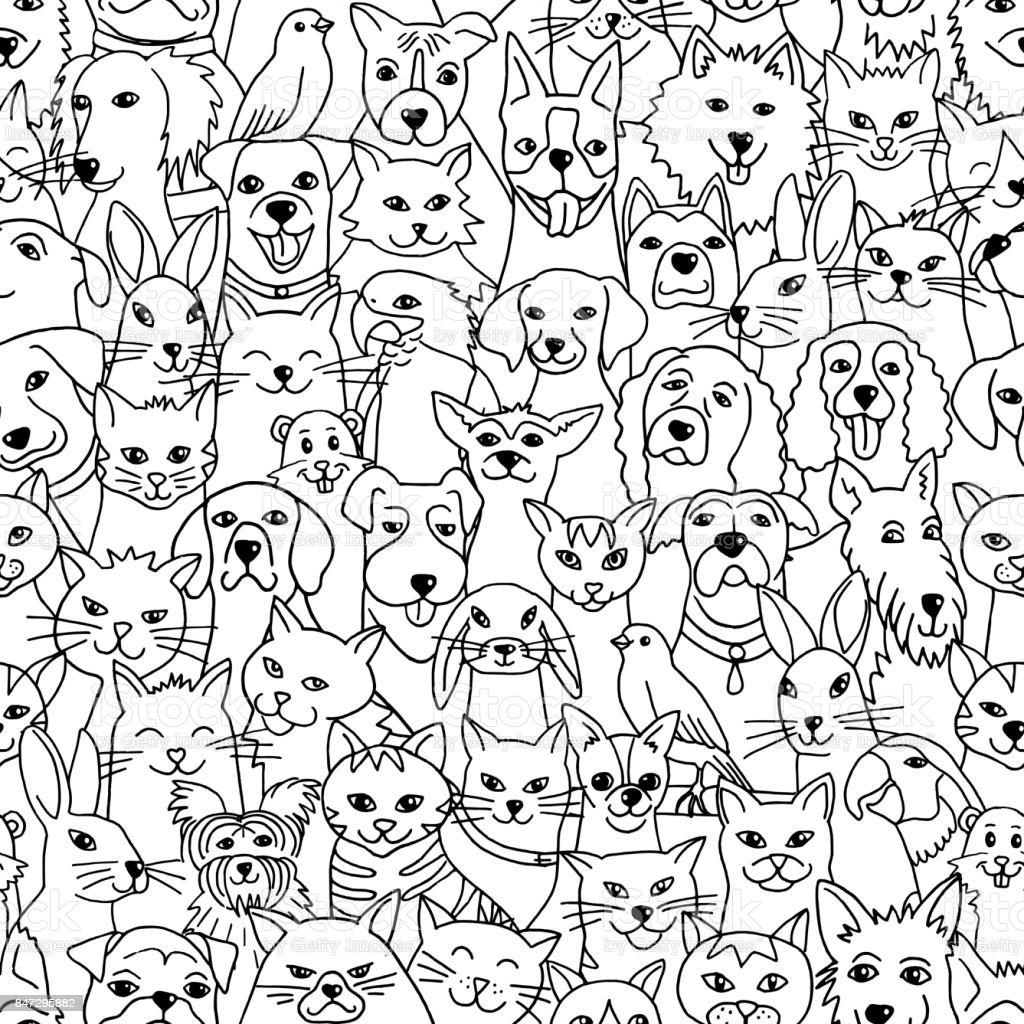 Pets seamless pattern