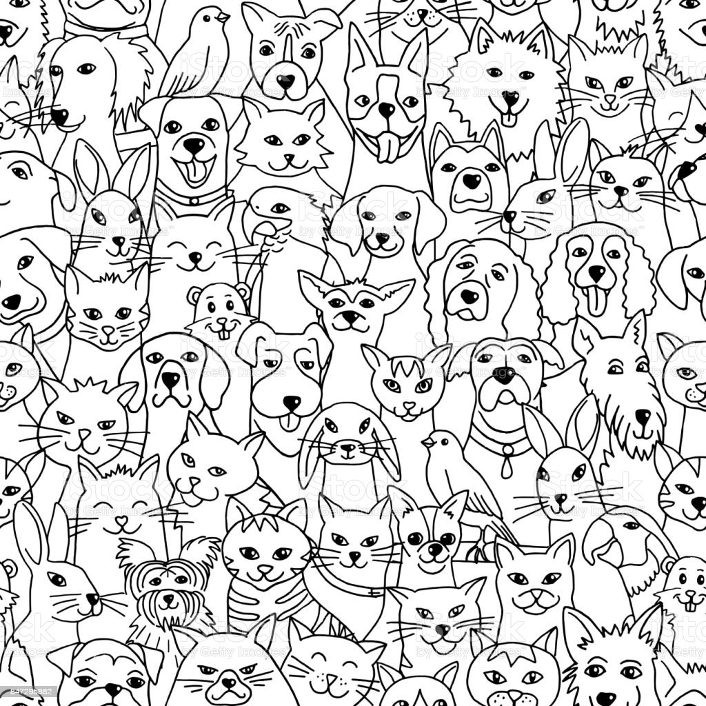 Pets seamless pattern vector art illustration