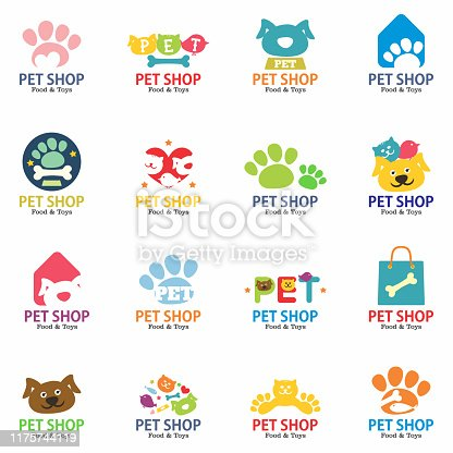 Pets shop logo, badges and labels set. Isolated on white background. Vector illustration