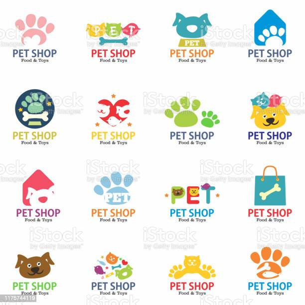 Pets shop logo badges and labels set isolated on white background vector id1175744119?b=1&k=6&m=1175744119&s=612x612&h=lenuf1kk0xg rtm525hjo jly0mptkkkm1ilcs3t6co=