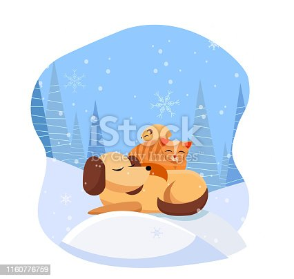 Pets sleeps comfortably on snowdrift in snowy forest. cat sleeps on dog, hamster sleeps on cat. It's snowing with large snowflakes. Flat cartoon vector illustration
