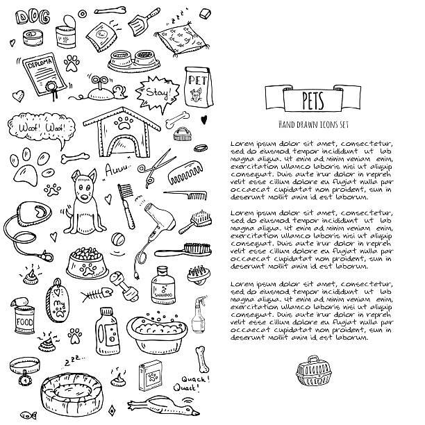 ilustrações de stock, clip art, desenhos animados e ícones de pets stuff and supply - dog food