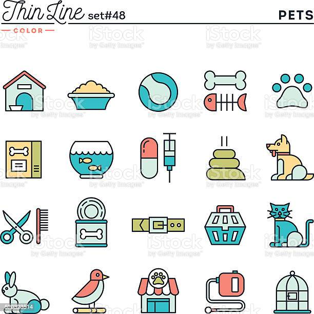 Pets thin line color icons set vector id520323514?b=1&k=6&m=520323514&s=612x612&h=a3j2whrcptg3cdbnpk7n rwyptza9bhqemuwo hsos4=