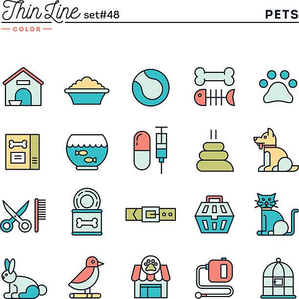 ilustrações de stock, clip art, desenhos animados e ícones de animais de estimação, cor conjunto de ícones de linha fina - lata comida gato