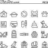 Pets, thin line icons set