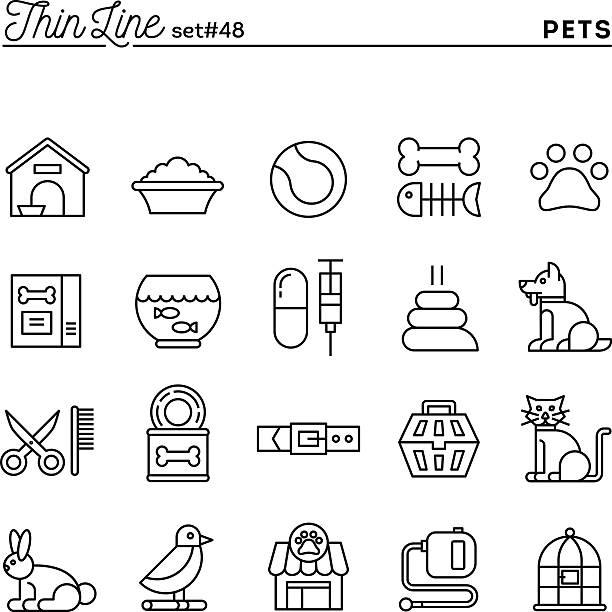 ilustrações de stock, clip art, desenhos animados e ícones de animais de estimação, conjunto de ícones de linha fina - lata comida gato