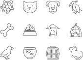 Pets vector icon set in line art style