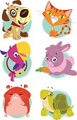 A set of cute stylized pet animals. Characters and backgrounds are grouped and layered separately.