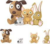 Vector illustration of cute pets. Dog, cat, rabbit and guinea pig or gerbil.