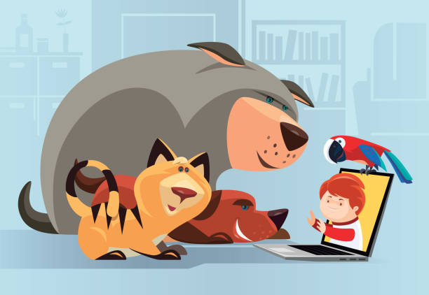 pets video chatting with little boy vector illustration of pets video chatting with little boy animal stock illustrations