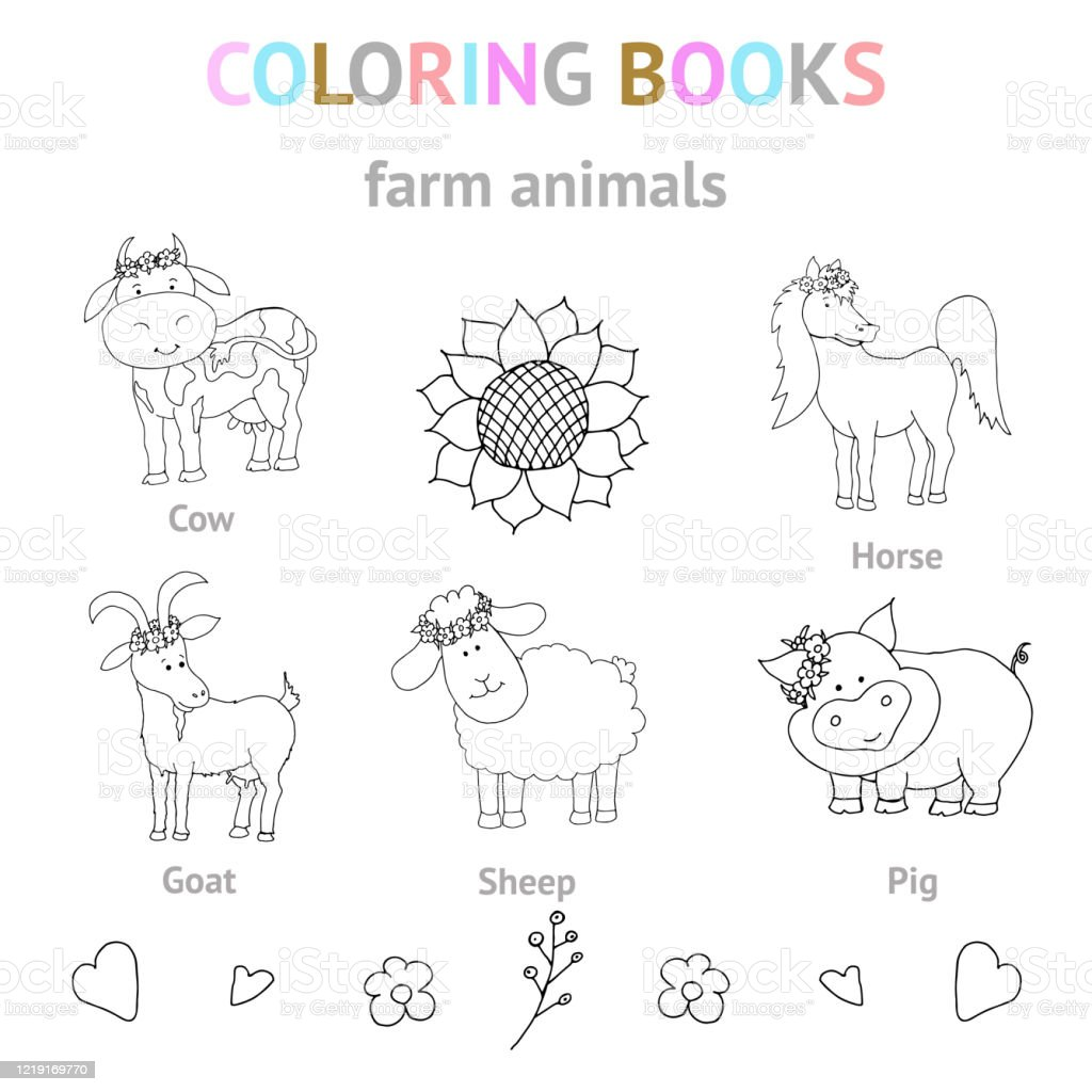 Petsgoat Sheep Pig Cow Horsea Set Of Cute Doodlestyle Illustrations Black And White Vector Illustrations For Coloring Stock Illustration Download Image Now Istock