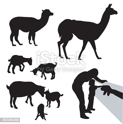 A vector silhouette illustration of farm animals including a llama, alpaca, sheep, and goats.  A mother and young daughter reach through a fence to pet a goat.