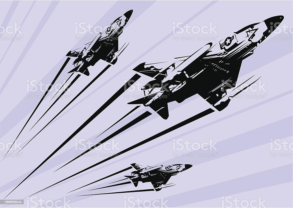 Phantom F-4 fighter jet stencil vector art illustration