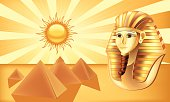 Pharaoh and pyramids. Vector illustration done using Adobe Illustrator CS3. Vector-Based Illustration.High Resolution JPG,CS3 AI and Illustrator 0.8 EPS included.