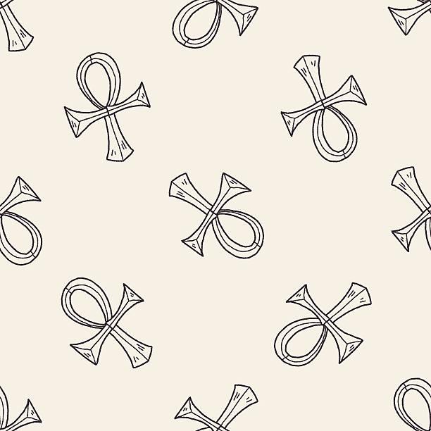 pharaoh Cane doodle seamless pattern background vector art illustration