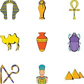 Pharaoh icons set, cartoon style
