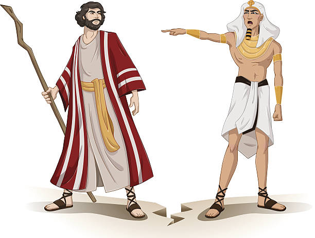 Pharaoh Sends Moses Away For Passover vector art illustration