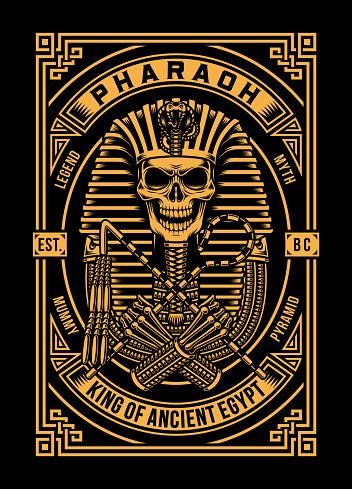 Pharaoh Skull Vector Illustration On Black