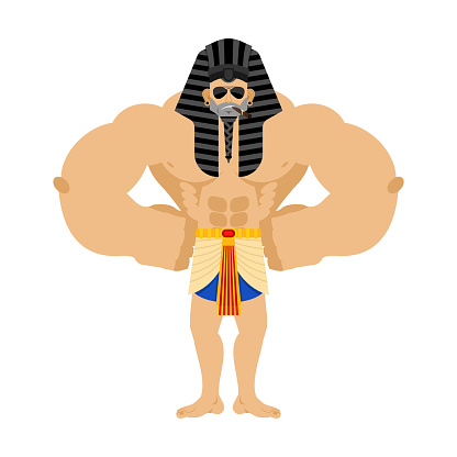 Pharaoh Strong Cool serious. Rulers of ancient Egypt strict. Vector illustration