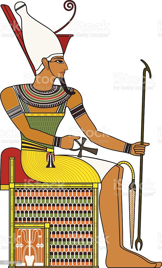 Pharaoh,isolated figure of ancient egypt pharaoh vector art illustration