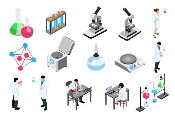 bildbanksillustrationer, clip art samt tecknat material och ikoner med farmaceutiskt laboratorium isometrisk ikoner set - microscope