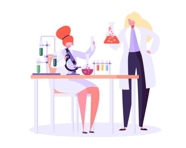 ilustrações de stock, clip art, desenhos animados e ícones de pharmaceutic laboratory research concept. scientists characters working in chemistry lab with medical equipment microscope, flask, tube. vector illustration - scientist