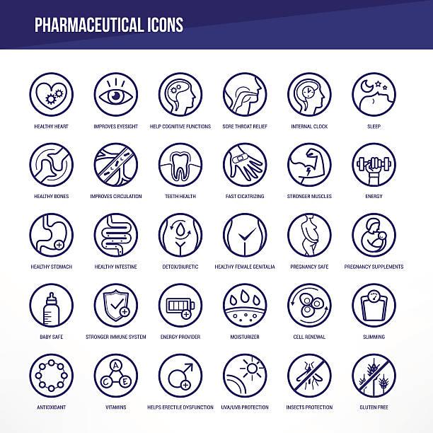 illustrations, cliparts, dessins animés et icônes de ensemble d'icônes médicales et pharmaceutiques - antioxydant
