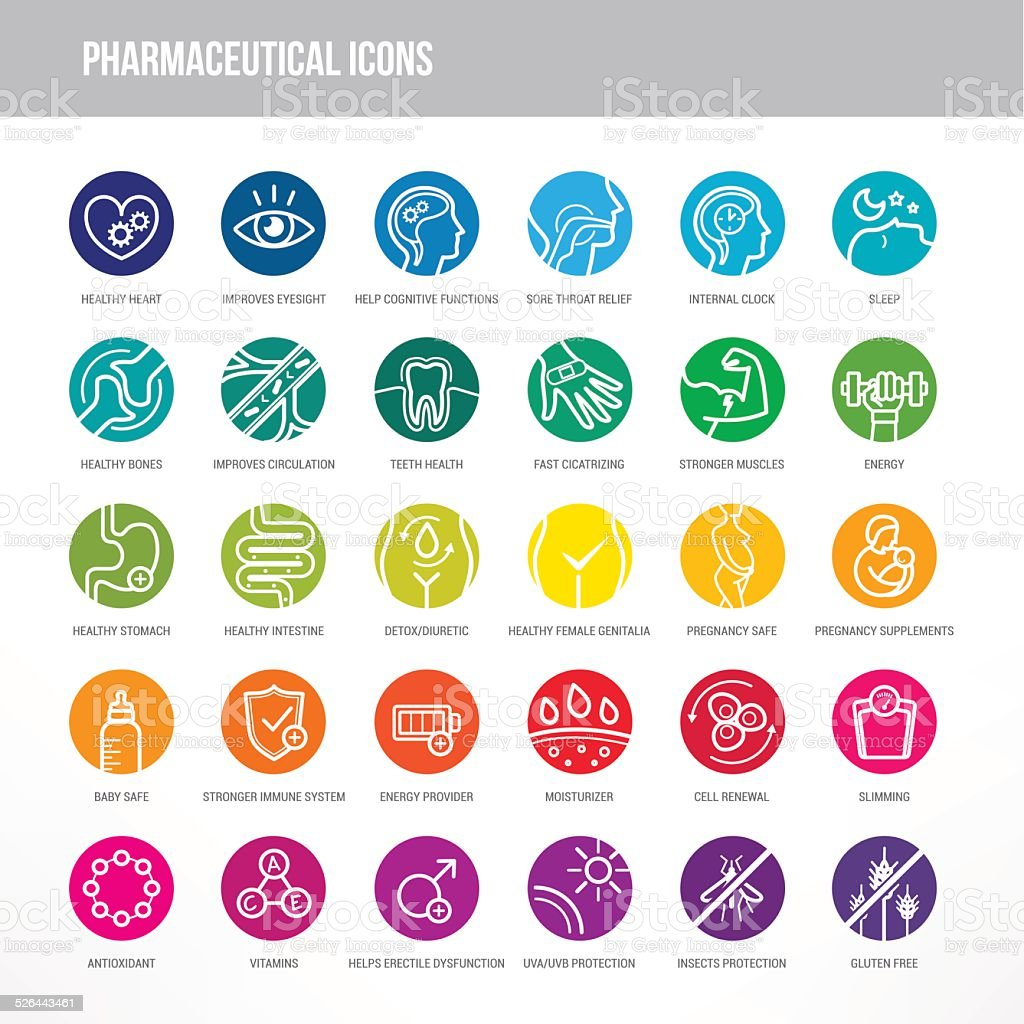 Pharmaceutical and medical icons set vector art illustration