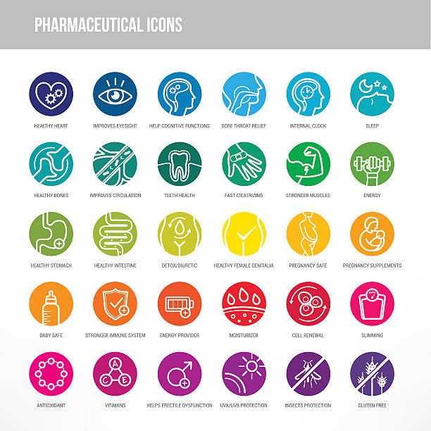 stockillustraties, clipart, cartoons en iconen met pharmaceutical and medical icons set - antioxidant